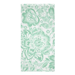 Mint Green And White Baroque Floral Pattern Shower Curtain 36  X 72  (stall)
