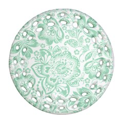 Mint green And White Baroque Floral Pattern Ornament (Round Filigree)
