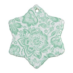 Mint Green And White Baroque Floral Pattern Ornament (snowflake)