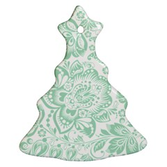Mint green And White Baroque Floral Pattern Christmas Tree Ornament (2 Sides)