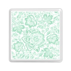 Mint Green And White Baroque Floral Pattern Memory Card Reader (square)