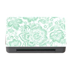 Mint green And White Baroque Floral Pattern Memory Card Reader with CF