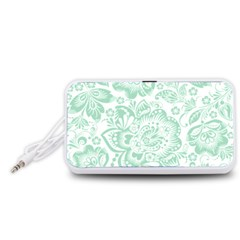 Mint green And White Baroque Floral Pattern Portable Speaker (White)