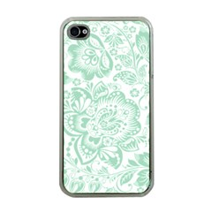 Mint green And White Baroque Floral Pattern Apple iPhone 4 Case (Clear)