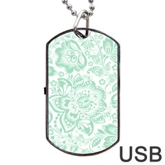 Mint green And White Baroque Floral Pattern Dog Tag USB Flash (One Side)
