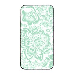 Mint Green And White Baroque Floral Pattern Apple Iphone 4/4s Seamless Case (black)