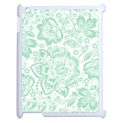 Mint green And White Baroque Floral Pattern Apple iPad 2 Case (White)
