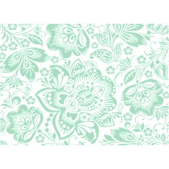 Mint Green And White Baroque Floral Pattern Birthday Cake 3d Greeting Card (7x5)
