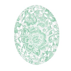 Mint green And White Baroque Floral Pattern Oval Filigree Ornament (2-Side)