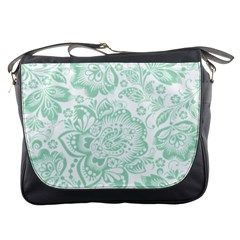 Mint green And White Baroque Floral Pattern Messenger Bags