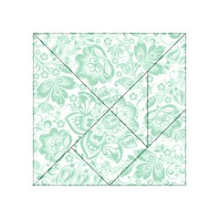 Mint green And White Baroque Floral Pattern Acrylic Tangram Puzzle (4  x 4 )