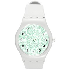 Mint green And White Baroque Floral Pattern Round Plastic Sport Watch (M)