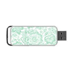 Mint green And White Baroque Floral Pattern Portable USB Flash (One Side)