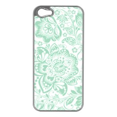 Mint green And White Baroque Floral Pattern Apple iPhone 5 Case (Silver)