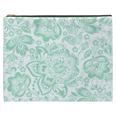 Mint green And White Baroque Floral Pattern Cosmetic Bag (XXXL)