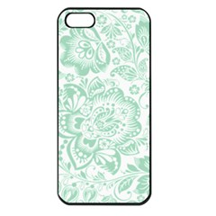 Mint green And White Baroque Floral Pattern Apple iPhone 5 Seamless Case (Black)