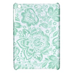 Mint green And White Baroque Floral Pattern Apple iPad Mini Hardshell Case