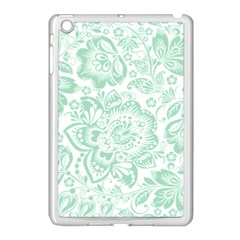 Mint Green And White Baroque Floral Pattern Apple Ipad Mini Case (white)
