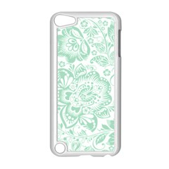 Mint green And White Baroque Floral Pattern Apple iPod Touch 5 Case (White)