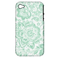 Mint green And White Baroque Floral Pattern Apple iPhone 4/4S Hardshell Case (PC+Silicone)