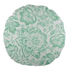Mint green And White Baroque Floral Pattern Large 18  Premium Round Cushions