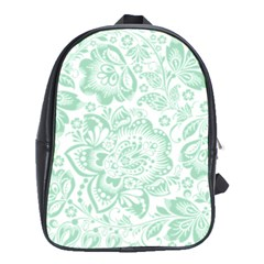 Mint green And White Baroque Floral Pattern School Bags (XL)