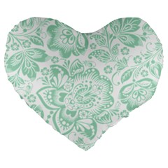 Mint green And White Baroque Floral Pattern Large 19  Premium Heart Shape Cushions
