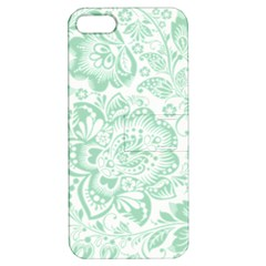 Mint green And White Baroque Floral Pattern Apple iPhone 5 Hardshell Case with Stand