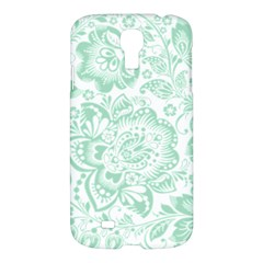 Mint green And White Baroque Floral Pattern Samsung Galaxy S4 I9500/I9505 Hardshell Case