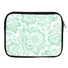 Mint green And White Baroque Floral Pattern Apple iPad 2/3/4 Zipper Cases