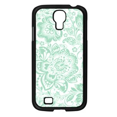 Mint green And White Baroque Floral Pattern Samsung Galaxy S4 I9500/ I9505 Case (Black)