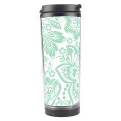 Mint green And White Baroque Floral Pattern Travel Tumblers