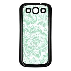 Mint Green And White Baroque Floral Pattern Samsung Galaxy S3 Back Case (black)