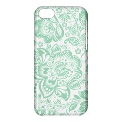 Mint green And White Baroque Floral Pattern Apple iPhone 5C Hardshell Case