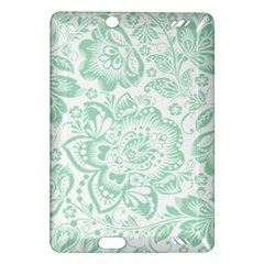 Mint green And White Baroque Floral Pattern Kindle Fire HD (2013) Hardshell Case