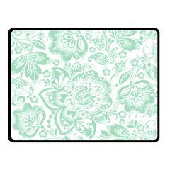 Mint green And White Baroque Floral Pattern Double Sided Fleece Blanket (Small)
