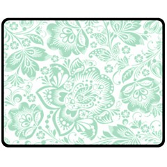 Mint Green And White Baroque Floral Pattern Double Sided Fleece Blanket (medium)