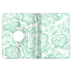 Mint green And White Baroque Floral Pattern Kindle Fire HDX Flip 360 Case