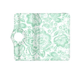 Mint green And White Baroque Floral Pattern Kindle Fire HDX 8.9  Flip 360 Case