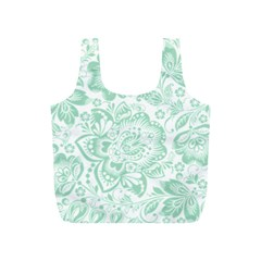 Mint green And White Baroque Floral Pattern Full Print Recycle Bags (S)