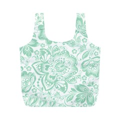 Mint green And White Baroque Floral Pattern Full Print Recycle Bags (M)