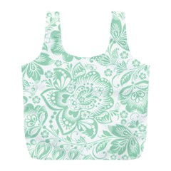 Mint Green And White Baroque Floral Pattern Full Print Recycle Bags (l)