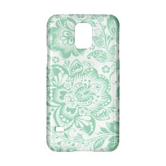 Mint Green And White Baroque Floral Pattern Samsung Galaxy S5 Hardshell Case