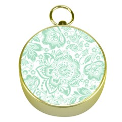 Mint green And White Baroque Floral Pattern Gold Compasses