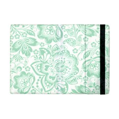 Mint green And White Baroque Floral Pattern iPad Mini 2 Flip Cases