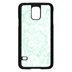 Mint Green And White Baroque Floral Pattern Samsung Galaxy S5 Case (black)