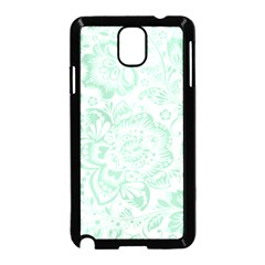 Mint green And White Baroque Floral Pattern Samsung Galaxy Note 3 Neo Hardshell Case (Black)