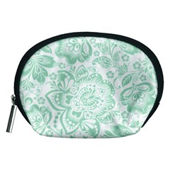 Mint green And White Baroque Floral Pattern Accessory Pouches (Medium)