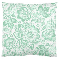 Mint green And White Baroque Floral Pattern Large Flano Cushion Cases (One Side)
