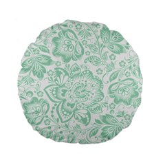 Mint green And White Baroque Floral Pattern Standard 15  Premium Flano Round Cushions